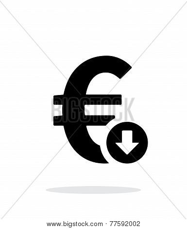 Euro exchange rate down icon on white background.