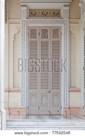Door Of The Abhisek Dusit Throne Hall In Bangkok; Thailand