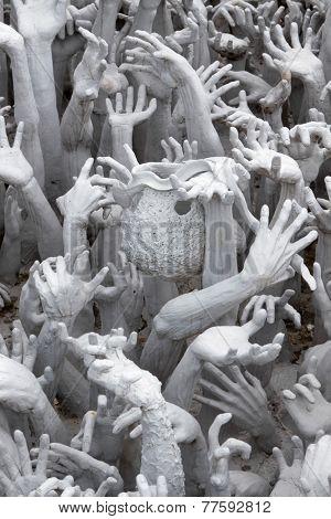 Chiang Rai, Thailand-August 03: Hands At Wat Rong Khun