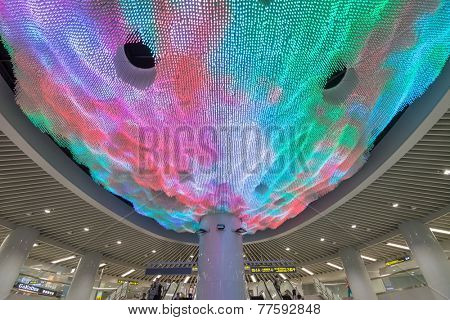 TAIPEI - NOVEMBER 29th : Dramatic Crystal-LED light Lobby on the ceiling of new open Songshan MRT Station on November 29th, 2014 in Taipei, Taiwan.