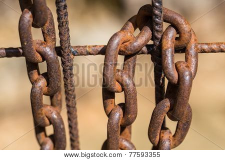 Rusty Chain On An Old Metal Fence