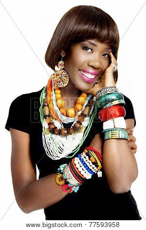 Beautiful African Woman Wearing Excessive Accessories, Isolated on White Background