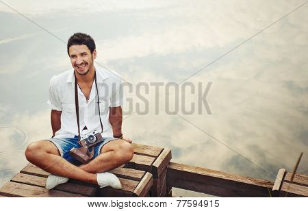 Handsome Young Stylish Men With Vintage Camera Chill Out By The Sea