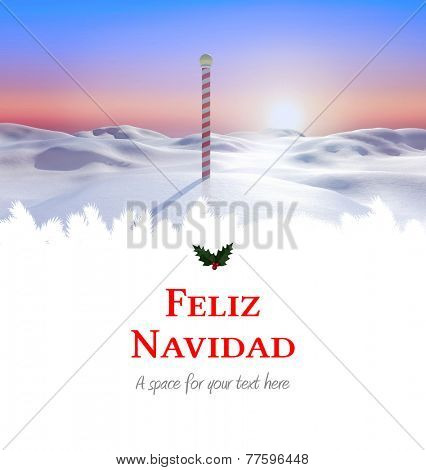 Feliz navidad against snowy land scape with pole