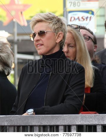 LOS ANGELES - DEC 4:  Ellen DeGeneres at the Pharrell Williams Hollywood Walk of Fame Star Ceremony at the W Hotel Hollywood on December 4, 2014 in Los Angeles, CA