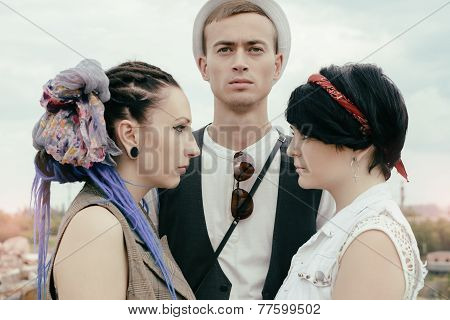 Love Triangle Young Guy Before A Choice In Resistance Of Two Girls