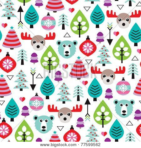 Seamless winter woodland christmas holiday season moose and bear ornament illustration background pattern in vector
