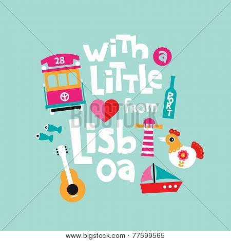 With a little love from Lisbon Lisboa Portugal travel greetings illustration postcard cover design in vector
