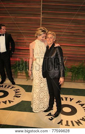 LOS ANGELES - MAR 2:  Portia DeRossi, Ellen DeGeneres at the 2014 Vanity Fair Oscar Party at the Sunset Boulevard on March 2, 2014 in West Hollywood, CA