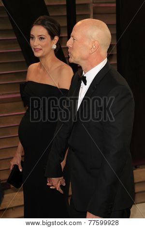 LOS ANGELES - MAR 2:  Emma Hemming, Bruce WIllis at the 2014 Vanity Fair Oscar Party at the Sunset Boulevard on March 2, 2014 in West Hollywood, CA