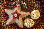 picture of shortbread  - Shortbread cookies in a Christmas themed bowl - JPG