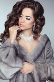 picture of mink  - Beauty Fashion Model Woman in Mink Fur Coat - JPG
