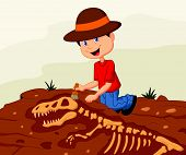 picture of excavator  - illustration of Child archaeologist excavating for dinosaur fossil - JPG