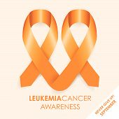 stock photo of leukemia  - an orange leukemia cancer awareness ribbon shape - JPG
