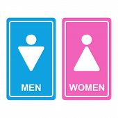 stock photo of female toilet  - Vector Male and female white bathroom icon denoting toilet and restroom facilities for both men and women with white male and female silhouetted figures on a blue and pink stickers - JPG