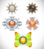 stock photo of brooch  - Set with different brooches - JPG