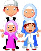 picture of muslim kids  - illustration of Happy Muslim family cartoon isolated on white - JPG