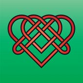 pic of triquetra  - Celtic endless knot red on a green background - JPG