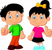 stock photo of thumb  - illustration of Cartoon boy and girl giving thumb up - JPG