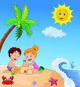 stock photo of children beach  - illustration of Children making sand castle at tropical beach - JPG