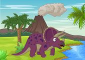 stock photo of terrific  - illustration of Prehistoric scene with triceratops cartoon - JPG