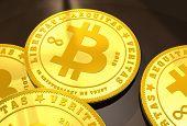 pic of bitcoin  - Closeup of golden Bitcoins on a dark background - JPG