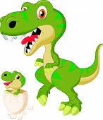 picture of dinosaur-eggs  - illustration of Mother and baby dinosaur hatching - JPG