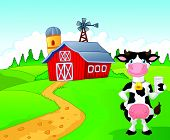 foto of dairy barn  - illustration of Cartoon cow holding a glass of milk with farm background - JPG