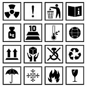 foto of fragile sign  - Packing symbols fragile handling and protection black icons set isolated vector illustration - JPG