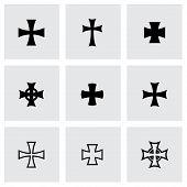 stock photo of maltese-cross  - Vector black choppers crosses icon set on grey background - JPG