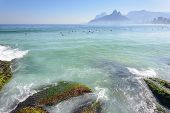 image of ipanema  - Arpoador beach in Ipanema overlooking the Two Brothers Hill and Stone G�vea