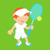 picture of shuttlecock  - Boy kid with sport badminton racquet and shuttlecock isolated on green background vector illustration - JPG