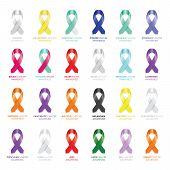 image of leukemia  - a large set of colourful awareness ribbons - JPG