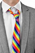picture of bisexual  - a businessman wearing a rainbow necktie - JPG