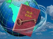 stock photo of holy-bible  - Holy Bible and the key to life - JPG