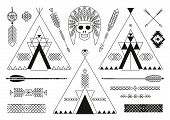 foto of apache  - Collection of Native American tribal stylized elements for design - JPG