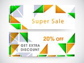 picture of indian independence day  - Website sale header or banner with discount offer and shiny triangles in national flag colors for Indian Republic Day and Independence Day celebrations - JPG