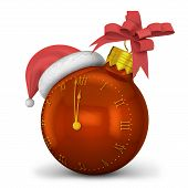 stock photo of ball cap  - Watch as the Christmas ball and cap of Santa Claus - JPG