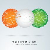 stock photo of indian blue  - Creative circles design in national tricolor for Happy Indian Republic Day celebration on sky blue background - JPG