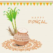 stock photo of pongal  - Beautiful traditional mud pot with rice - JPG
