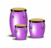 stock photo of congas  - Congas band in purple design with shadow on white background - JPG