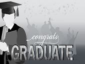 picture of congrats  - Graduates in silhouette with congrats and mortars flying - JPG