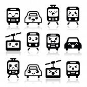 picture of kawaii  - Vector black icons set of Kawaii transport characters  - JPG