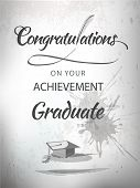 stock photo of graduation  - Graduate congratulations achievement  typography with mortar in textured background - JPG