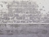 foto of cinder block  - Old warehouse cinder block exterior with peeling paint - JPG