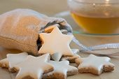pic of desert christmas  - Cinnamon stars christmas cookies and tea cup - JPG
