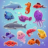 stock photo of creatures  - Cute cartoon sea animals - JPG