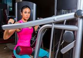 picture of lats  - Lat Lateral dorsal pulldown machine upper back exercises woman at gym workout - JPG