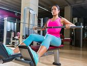 pic of pulley  - low pulley rows woman wide grip seated girl workout gym exercise - JPG