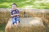foto of hay bale  - Cute Young Mixed Race Boy Having Fun on Hay Bale Outside - JPG